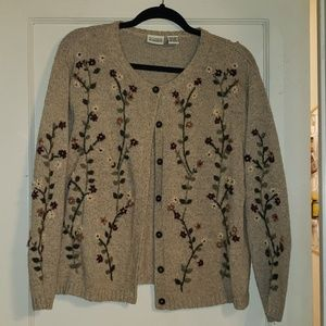 Floral Embroidered Granny Sweater 14-16